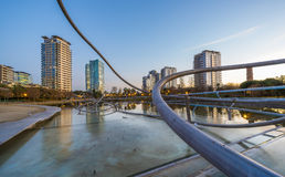 Park with pond in Barcelona. Park Diagonal Mar in Barcelona , Spain Stock Images