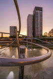 Park with pond in Barcelona. Park Diagonal Mar in Barcelona , Spain royalty free stock image