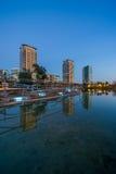Park with pond in Barcelona. Park Diagonal Mar in Barcelona , Spain Stock Photo