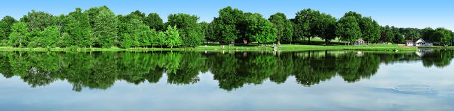Park and Pond Panoramic Royalty Free Stock Photos