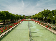 Park and ponds in Alcazar of Cordoba Royalty Free Stock Image