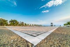 Park at Port of Thessaloniki, Paralia, Greece - Wide lens shot Stock Image