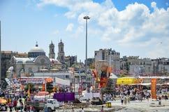 Park-Proteste und Ereignisse Taksim Gezi Die Ansicht von Taksim Squar Lizenzfreies Stockbild