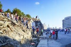 Park-Proteste und Ereignisse Taksim Gezi Die Ansicht von Taksim Squar Stockbild