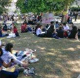 Park-Proteste und Ereignisse Taksim Gezi Parkschützen Taksim Gezi Stockbild