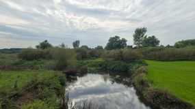 Park przy późnym wrześniem, widok rzeka Obraz Stock