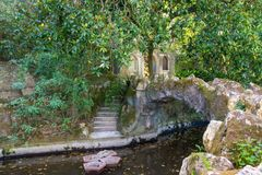 Park of the Ragaleira Palace in Sintra. Portugal Royalty Free Stock Photo