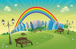 Park with rainbow. Funny cartoon and scene