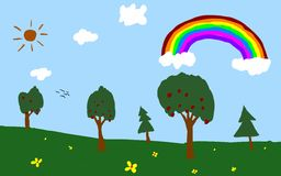 Park and Rainbow Royalty Free Stock Photography