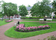 Park at rainy day in the historic quarter of Naantali, Finland.  Royalty Free Stock Photography