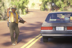 A park ranger directing motorists, Royalty Free Stock Images
