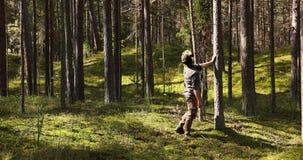 Park ranger or forester on forest survey or inspection