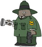 Park Ranger holding a flashlight and pistol stock illustration