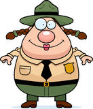 Park Ranger Smiling. A happy cartoon park ranger standing and smiling Stock Photo