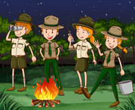 Park rangers working at night Royalty Free Stock Photo