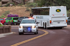 Park rescue Rushing to  injured hiker in Zion National Park Stock Photos