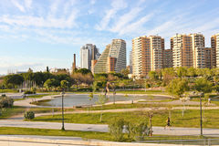 A park and residential area in Valencia Royalty Free Stock Photo