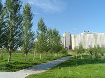 Park and residential buildings stock photo