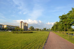 Park and residential suburb of St. Petersburg. Stock Photos