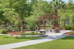 Park Rest Stop. Bench Setup at a Gateway Park in Orange Cit Florida Royalty Free Stock Images