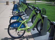 Park and Ride Bicycles Royalty Free Stock Photos