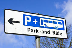 Park and ride. Sign for a park and ride site in a UK town Royalty Free Stock Photography