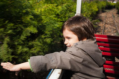 Park ride on small train Royalty Free Stock Photo