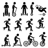 Park Ride Vehicles Set Clipart. Vector set of park riding vehicles and equipment that includes electric scooter, self-balancing 2 wheels, inline skating, roller Stock Images
