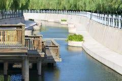 Park river. The summer scenery of Yumenhe Park in Taiyuan, Shanxi, China stock photos