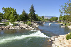 Park and river near downtown Reno, NV. Stock Images