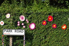 Park Road Hedge  Womens Institute Yarn Bombing Stock Photos