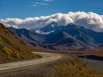 Park Road, Snowcapped Mountain Peak, Denali National Park stock photography