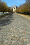 Park road to the Fontainebleau palace ? Royalty Free Stock Photos