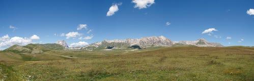 The park of Rocca Calascio, view on the Gran Sasso Mountain Royalty Free Stock Photos