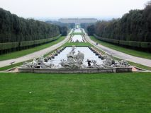 The park of the royal palace of Caserta. By Vanvitelli, Italy Royalty Free Stock Photos