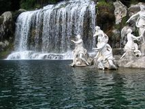 The park of the royal palace of Caserta. Waterfall and fountain in The park of the royal palace of Caserta by Vanvitelli, Italy Stock Images