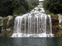The park of the royal palace of Caserta. Waterfall and fountain in The park of the royal palace of Caserta by Vanvitelli, Italy Royalty Free Stock Photos