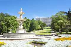 Park at Royal Palace Madrid Royalty Free Stock Image