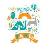 Park Rozrywki dla całej rodziny, przyciągania, chodzące ścieżki, staw, lody, kawa i cyrk, royalty ilustracja