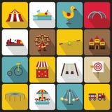 Park rozrywki ikony ustawiać, mieszkanie styl ilustracja wektor