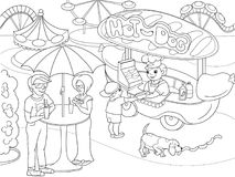 Park rozrywki kolorystyki strony dla dzieci black tła butelki są gorący wizerunek psa ketchup odizolowywającej musztardę Jedzenie ilustracji
