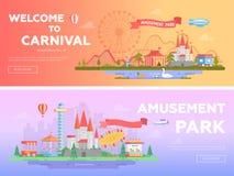 Park rozrywki - set nowożytne płaskie wektorowe ilustracje ilustracja wektor