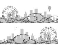 Park rozrywki sylwetki ilustracji