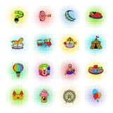 Park rozrywki ustalone ikony, komiczka styl royalty ilustracja