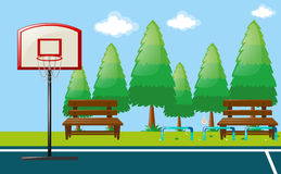 Park scene with basketball court. Illustration Royalty Free Stock Image