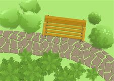 Park scene with bench, trees and footwalk, top view. Outdoor exterior, view from above. Flat vector illustration. Horizontal vector illustration