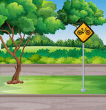 Park scene with bicycle lanes Stock Images