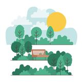Park scene with chair. Vector illustration design Royalty Free Stock Photography
