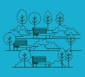 Park scene with chair. Vector illustration design Royalty Free Stock Image