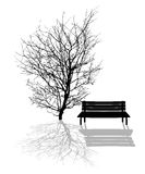 Park scene. Illustration with tree and park bench silhouettes Stock Photos